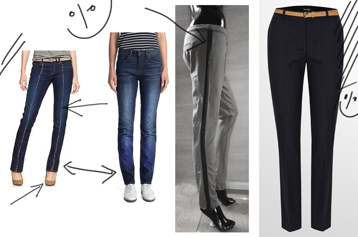 kalhoty misto legin